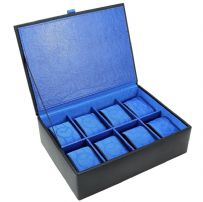 Dulwich Designs 70908 Black 8 Piece Watch Box With Blue Lining